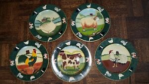 Set of 5 beautiful hand-painted decorative plates - Farm Animals