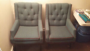 Two eclectic wingback chairs for sale