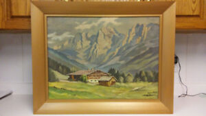 Amazing antique Alpine oil painting