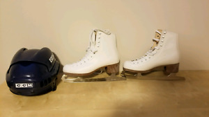 Ice skate size 6 with helmet