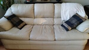 Sofa Ivoir en Cuir Italien 3 places, Italian Leather Ivory Couch