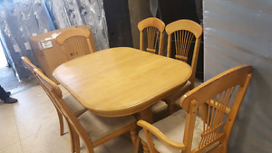 Solid wood table set with 6 chairs