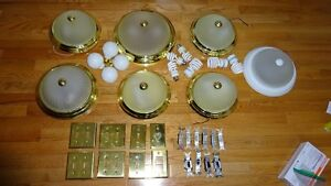 6 ceiling lights, 8 gold switch plates & LED bulbs