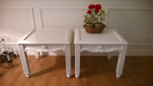 TABLES DE SALON STYLE SHABBY CHIC BLANCHES - TABLES CHAMPÊTRES
