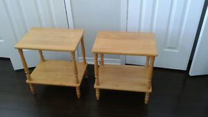 2 Wood Oak TV Tables