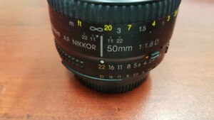 Nikon AF 50 mm F1.8D lens - with caps