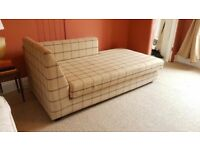 Wool Upholstered Sofa / Modern Chaise Longue in Neutral Beige & Brown Plaid Check