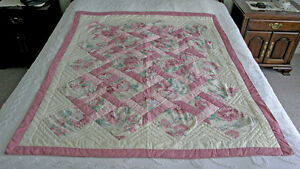 Lap Quilt 48x57 Hand Stitched (Flowered Cross Pattern) Vintage