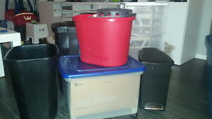 Various garbage bins, mop bucket, storage bin, portable file box