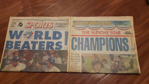 Original 1992 Blue Jays Championships Newspapers