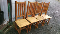 4 Rustic Solid Pine Dining Room Chairs