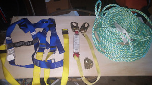 Brand New harness and lanyard, 100' lifeline and ropegrab