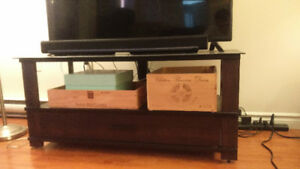 Glass and Wood TV Stand for Sale