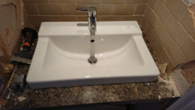 Ceramic bathroom vanity countertop sink