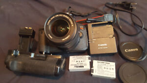 Canon Rebel T5i w/ Lens and Battery Grip + bag