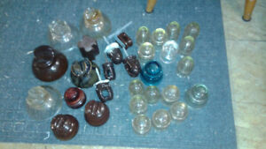 large collection of vintage glass insulators