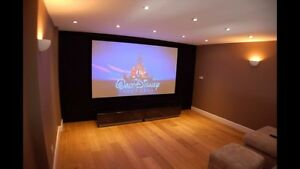 "Panasonic Projector and GrandView 110"" Screen"