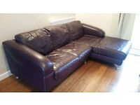 Leather Sofa Corner Dark Purple