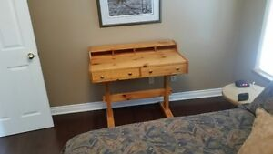 Custom 'keyhole' solid pine desk and 2 Bureaus