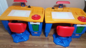 Two Little tikes child desks and chairs