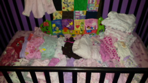 LARGE LOT OF BABY GIRL CLOTHES. RECIEVING BLANKETS. (3-9M)