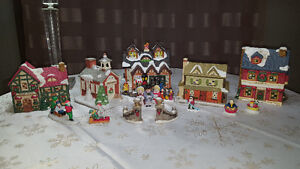 CHRISTMAS Village Buildings and Figures Assorted
