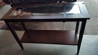 Rectangular Console Table with Glass and Shelf