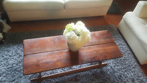 Antique spin wheel rustic barn board coffee table
