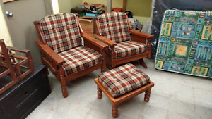 Solid-Wood Chair, Rocker and Foot Stool