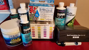 Saltwater test kits and supplements for corals