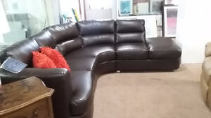 Black Bonded Leather Match Sectional