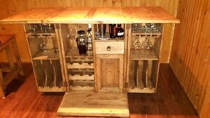 Solid Pine folding BAR and stacking side tables