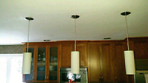 3 Frosted Glass Pendants Lights- like new