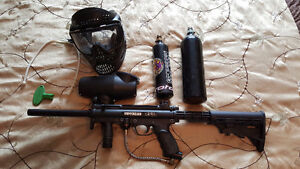 Paintball marker, Tippman A5 with EGRIP and Cyclone feed hopper