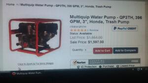 Pompe à eau HONDA 8 hp, Entrée/Sortie 3po (Rare !!)
