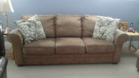 FREE BEIGE  MICROFIBER  COUCH