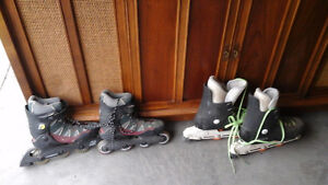 2 SETS OF ROLLER BLADES AND BRAND NEW WHEELS