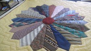 Hand Quilted, Quilt made from mens ties