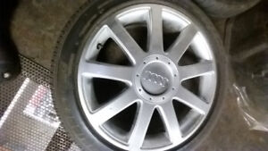 2 audi 9 spoke wheels with tires