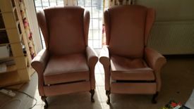 PAIR Of Winged Back Recliner Chairs.