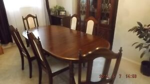 Dining Room Solid Wood Table, Chairs and China Cabinet
