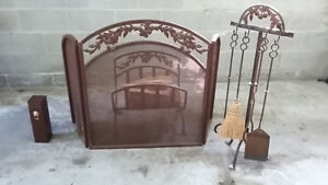 Fireplace screen, tool set, wood holder and match box