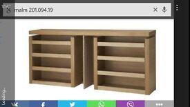 IKEA malm sliding bedside cabinets