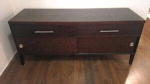 Dark brown wood buffet cabinet