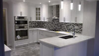 New white shaker style kitchen cabinets, installation, 25 +years