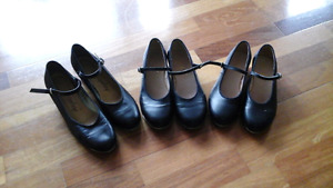 Girls Black Mary Jane  Leather Tap Shoes - Sizes 5, 6 & 6.5