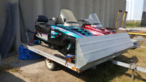 2 POLARIS INDY TOURING SLEDS WITH DOUBLE TRAILER