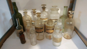 Antique Glass Bottles Apothecary Perfume Medicine Pickle Alcohol