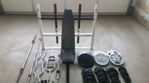 340+lbs of Weight Plates Heavy Duty Adjustable bench + barbells