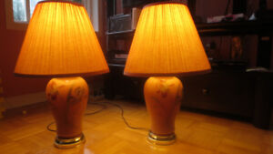 Pair of Vintage Table Lamp with gold trim at bottom - $40 for th